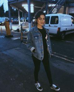(Cold / 50/50) Girly Tomboy // Black Shirt (long sleeve), Black leggings, Jean Jacket, Black Sneakers