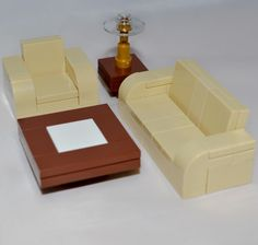LEGO Furniture: Tan Seating Set Collection - Couch, Chair, Tables + Instructions #LEGO