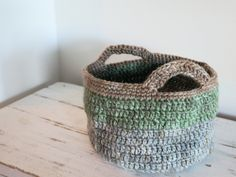bedside basket (crochet) by hot strong coffee  For guest room filled with welcome stuff & for the nephews
