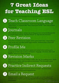 7 Great Ideas for Teaching ESL. These are some wonderful ideas that can be used alone or as part of a lesson. My favorite is number 4. It gets students used to filling out forms, which can be tricky in another language!