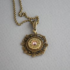 Bullet Necklace-Winchester 45 Auto- Bullet Jewelry-Swarovski Vintage Rose-Spent Casings- Ammo Jewelry
