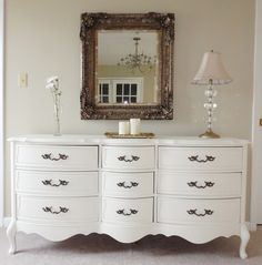 Affordable French Dresser Bedroom In White Polished Finishing Wooden Rectangle Shape With 9 Drawers Wavy Chest Using Black Iron Pulls Handle And Queen Anne Legs As Well As Showing Off The Charming Decorative Carving Mirror Frames Wall Mounted, Good Looking Painting Bedroom Furniture Ideas: Bedroom, Furniture, Interior, Kids room