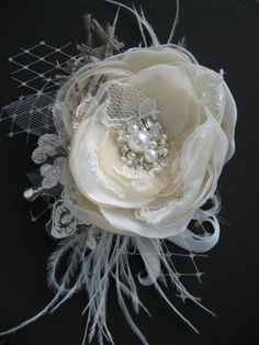 lace, burlap and feather wedding fascinator