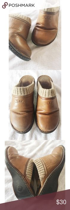 UGG Leather Mules These pair of Leather UGG Mules are a size 7 and are in great condition.  They are fur lined and the soles show little amount of wear. UGG Shoes Mules & Clogs