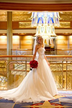 Jillian and Michael's Disney Dream Wedding - DCL. I love the dress and the background.
