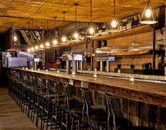 bar- wood table & lighting