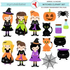 Witches Clipart Set - clip art set of witches, halloween clipart, cats, cauldron - personal use, sm halloween printouts printables Witch Clipart, Halloween Clipart, Halloween Games, Cute Halloween, Halloween Pictures, Scrapbooking Digital, Paper Dolls, Stationery, Logo Design
