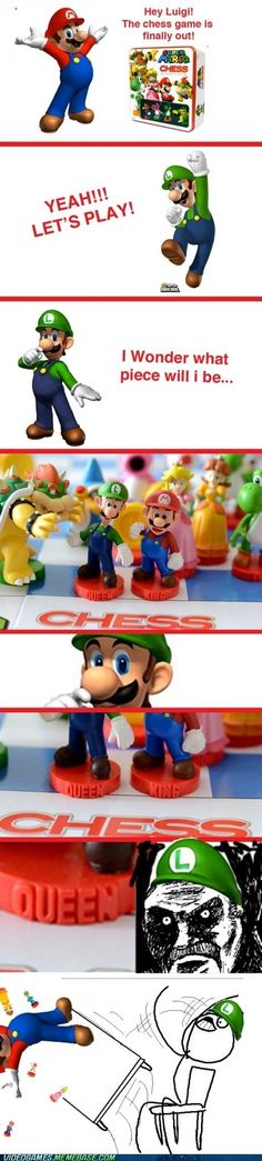 Luigi's Finally Had Enough - This doesn't make sense, the queen is the most powerful piece on the board.