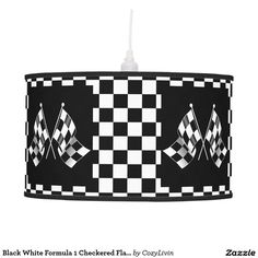 Black White Formula 1 Checkered Flags Pattern Ceiling Lamp. Auto racing flags on black and white checkerboard background. Trendy design available on a variety of home decor items for boys and men, car sport, Nascar, Indy 500, Le Mans or Formula One Grand Prix racing fan. Fun item for the children's bedroom, man cave, game, tv, living or family room.