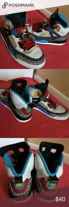 Nike Air Jordan Spizike Bordeaux Shoes is used and rated 7/10...It shoes signs of use especially the tiny paint flaking by the sides....just minimal paint peeling..nothing serious. This is authentic nike product #315371 070.. Shoes is size 8 but fits SIZE 8.5 MEN as well...its a big size 8..Will also fits size 9 men as well. Nike Shoes Sneakers