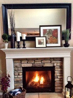 Mantel Decorating/Layering, c2Design I love this mantle and stone