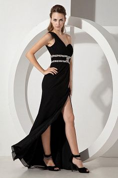 Perfect One Shoulder Prom Dress with High Slit and Beading Prom Dresses Under 100, Prom Dress 2014, Elegant Prom Dresses, Prom Dresses For Sale, Black Evening Dresses, Cheap Evening Dresses, Prom Party Dresses, Evening Gowns, Bridesmaid Dresses