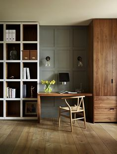 Painting Wood Paneling for a Contemporary Home Office with a Display Cabinet and Teddy Edwards Bespoke Study & Library Furniture by Teddy Edwards Home Office Design, Home Office Decor, House Design, Home Decor, Office Ideas, Workspace Design, Office Style, Garderobe Design, Library Furniture