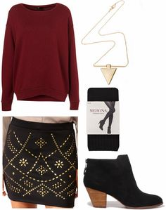 Cf fab find f21 studded skirt outfit 1