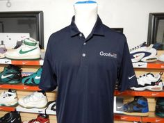 NWT Men's Nike Golf Dri Fit Goodwill Logo Polo Shirt Vertical Mesh 637167 Large #NikeGolf #PoloRugby