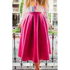 Sweet Candy Color High Waist Pleated Skirt For Women