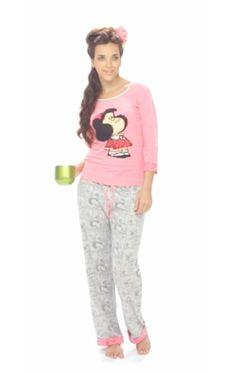 Pijama Mafalda: Camiseta rosada manga 3/4 y pantalón gris con dobladillo