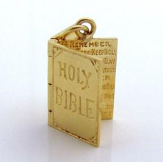 Vintage 14K Gold Holy Bible Charm *Opens to the Ten Commandments* from charmalier on Ruby Lane