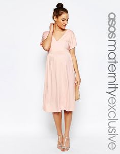 Image 1 ofASOS Maternity Midi Dress With Flutter Sleeve