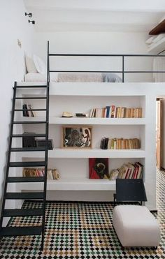 Loft with bookcase. If the bookcase is shallow enough, a skinny closet might be able to fit behind it, too. More