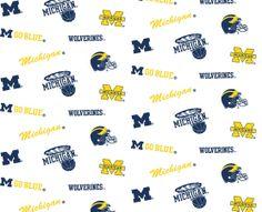 NCAA Cotton Fabric- Michigan White Allover at Joann.com