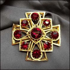 Maltese Cross Pin Ruby Red Crystal Gold Brooch 1950s Vintage Jewelry $110