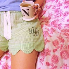 scalloped PJ shorts
