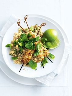 thai green curry chicken skewers with ginger quinoa