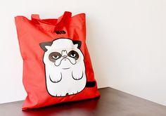 grumpy cat Jutebeutel // tote bag via DaWanda.com