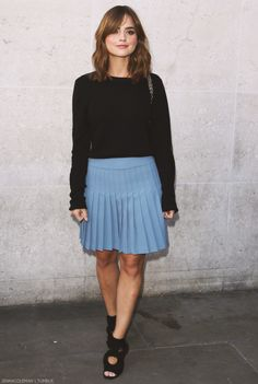 Jenna outside BBC Radio One Studios - 22 August 2014 | mine: i am so happy because i actually wear something like this but the skirt is in a dark periwinkle color