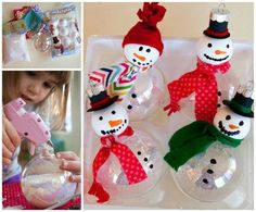 Foam Ball Snowman Ornaments...these are the BEST Homemade Christmas Ornament…