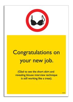New Job Flirt. Congratulations Card. Warning. Cheeky. Funny. www.brainboxcandy.com