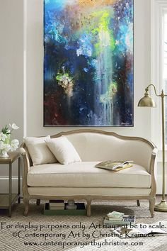 "ORIGINAL #Art Abstract Painting Modern Blue ""Unlimited"" Mixed Media Contemporary Fine Art Textured #Paintings Home #Decor Wall Art Room Accents by Internationally Collected Artist Christine Krainock"