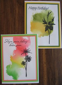 Backgrounds made by scribbling with TomBow markers onto an acrylic block, then spritzing heavily with water before stamping onto cardstock mat. When mat is dry, stamp image and sentiment in black. Add mat and card base. Cute Cards, Diy Cards, Sympathy Cards, Greeting Cards, Card Making Techniques, Get Well Cards, Watercolor Cards, Watercolor Background, Card Tutorials