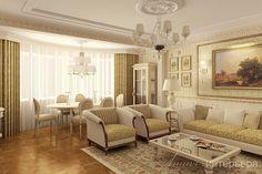 Проект 3-х комнатной квартиры (120м2) в классическом стиле на ул.Вавилова. Вид на гостиную. Подробнее об объекте на сайте студии - www.line-interior.ru