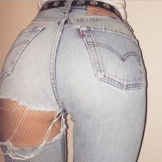 Nice back yards. Fishnet And Jeans, Sexy Jeans, Cut Jeans, Jeans Pants, Trousers, Cool Outfits, Fashion Outfits, Womens Fashion, Pinup Photoshoot