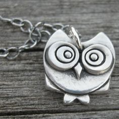 Skillet fine silver owl pendant MADE TO ORDER by westbyron on Etsy, $57.00