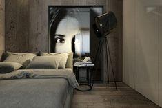 Décor mural en noir et blanc, source et design : Spotlight