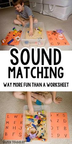 Sound Matching Bin: An Easy Phonics Activity Looking for a great pre-reading activity? Try making a sound matching bin! An easy way to work on phonemic awareness without a worksheet! A hands-on way to develop reading skills from Busy Toddler. Pre Reading Activities, Preschool Learning Activities, Fun Learning, Toddler Preschool, Learning Phonics, Preschool Phonics, Phonemic Awareness Activities, Learning Letters, Phonics Games