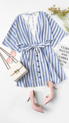 Deep V Neck Button Front Striped Summer Blue Striped Half Sleeve Women Batwing Sleeve Belt Halter Dress – Witchday Store Girly Outfits, Pretty Outfits, Cute Outfits, Look Fashion, Fashion Outfits, Womens Fashion, Dress Fashion, Color Type, Half Sleeve Women