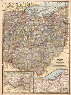 Kansas KS Vintage Map Custom Map Art Print Map Retro Personalized - Us map of ohio