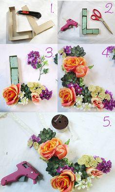 diy floral letter// helloluvvy.com