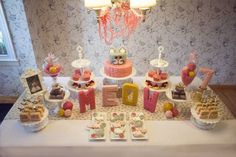 Little girls kitty cat birthday party table ideas ~ https://www.etsy.com/listing/218196395/kitty-cat-birthday-party-invitation?ref=shop_home_active_3