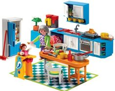 Playmobil kitchen. Look at all the tiny little things! I love it.