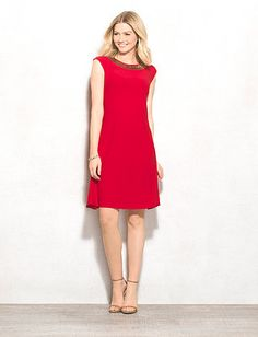 4a78a9ce156 Embellished-Neck Knit Dress Dress Barn Dresses