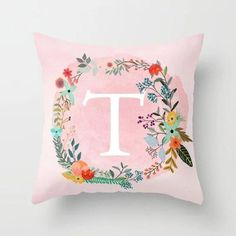 New Fashion Flower Wreath With Blue Letter Pillow Case 45*45 Print Pillow Cases Polyester Sofa Car Cushion Cover Home Wholesale Cushion Cover Home & Garden