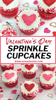 Sprinkle Heart Cupcakes are the perfect dessert for Valentine's Day, anniversaries, or any special occasion. Use this easy decorating hack to make cute, customized, sprinkle-covered cupcakes in no time! | From SugarHero.com #valentinesdaycupcakes #cupcakes #cupcakedecorating #sprinkles #sprinklecupcakes Easy Cake Recipes, Baking Recipes, Cookie Recipes, Dessert Recipes, Breakfast Recipes, Sprinkle Cupcakes, Heart Cupcakes, Chocolate Cake Recipe Easy, Valentines Day Desserts