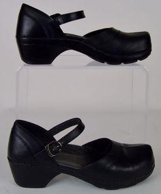 Women's Dansko Sally solid black Leather Mary Jane Clogs Shoes Size 10.5 41 LN #Dansko #NursingUniform