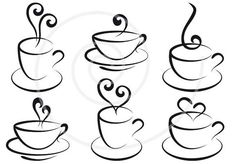 Kaffee und Tee Tassen mit Herzen digitale ClipArt von Illustree