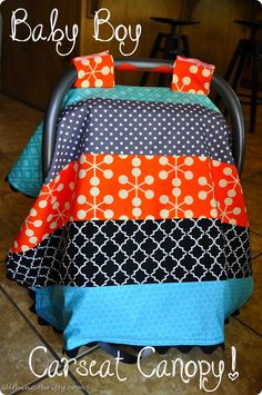 Baby Boy Car Seat Canopy Instructions – All Things Thrifty Baby Sewing Projects, Sewing For Kids, Baby Boy Car Seats, My Bebe, Everything Baby, Baby Crafts, Baby Quilts, Baby Love, Baby Shower Gifts